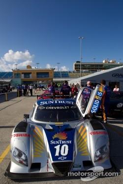 #10 SunTrust Racing Chevrolet Dallara at post-qualifying technical inspection