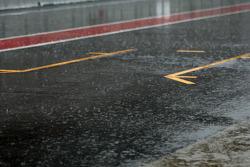 Lluvia fuerte en el Circuito de Cataluña para el último día de pruebas, el pitlane