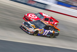 Denny Hamlin, Joe Gibbs Racing Toyota and Juan Pablo Montoya, Earnhardt Ganassi Racing Chevrolet
