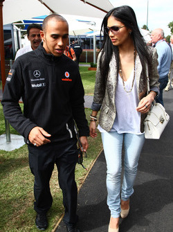 Lewis Hamilton, McLaren Mercedes with girlfriend Nicole Scherzinger singer in the Pussycat Dolls