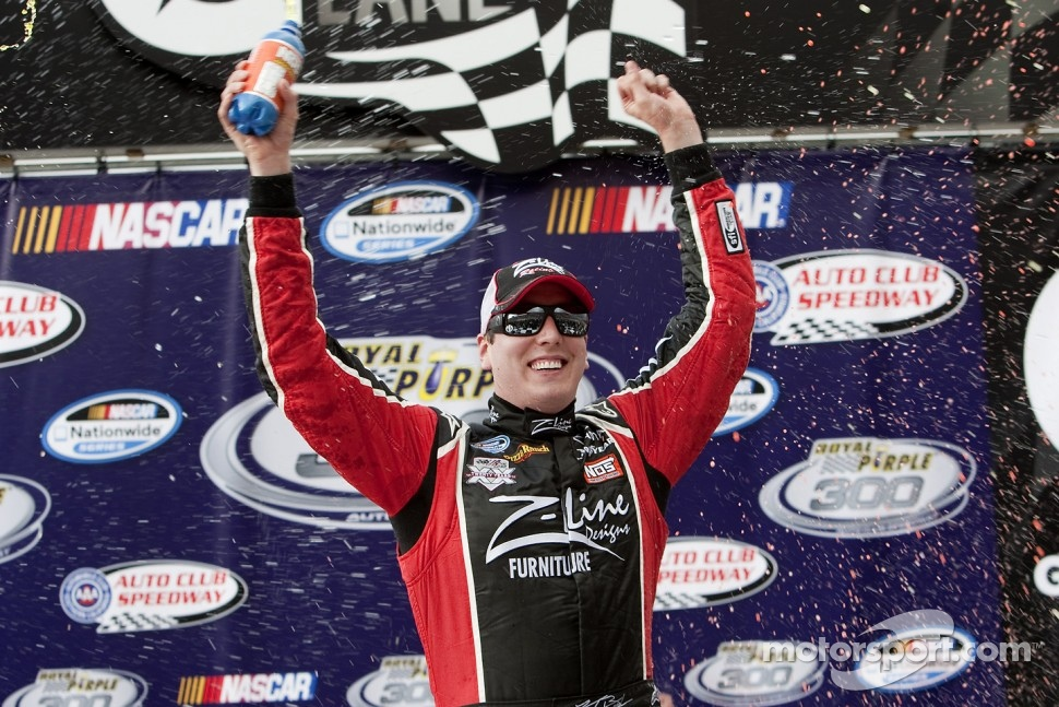 Kyle Busch celebrating a win in the Nationwide Seires