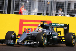Race winner Lewis Hamilton, Mercedes AMG F1 W07 Hybrid celebrates as he takes the chequered flag at the end of the race