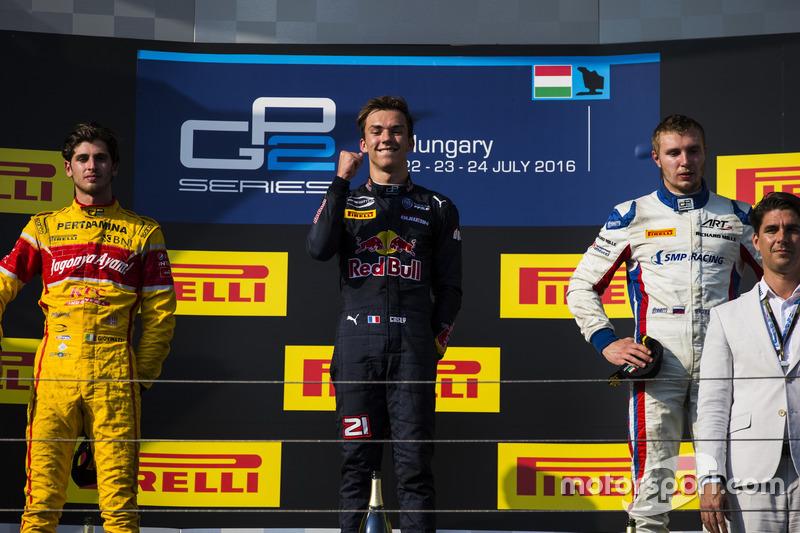 Pierre Gasly, PREMA Racing, Antonio Giovinazzi, PREMA Racing et Sergey Sirotkin, ART Grand Prix