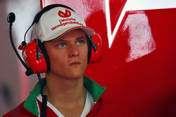 Mick Schumacher, Prema Powerteam in the Ferrari pit garage