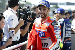 Third place Andrea Iannone, Ducati Team in parc ferme