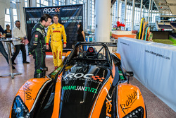 Kurt Busch and Ryan Hunter-Reay and the Radical car that will participate in the 2017 Race of Champions in Miami at the Marlins Park