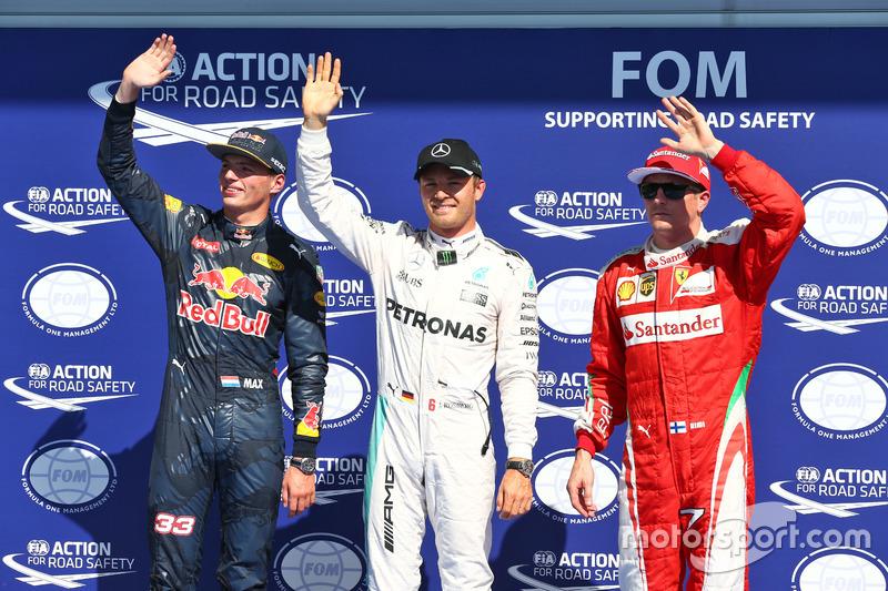 Polesitter Nico Rosberg, 2. Max Verstappen, 3. Kimi Räikkönen