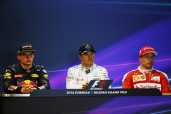 The post qualifying FIA Press Conference (L to R): second place Max Verstappen, Red Bull Racing; Pole position Nico Rosberg, Mercedes AMG F1; third place Kimi Raikkonen, Ferrari, third
