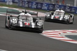 #2 Porsche Team Porsche 919 Hybrid: Romain Dumas, Neel Jani, Marc Lieb; #1 Porsche Team Porsche 919 Hybrid: Timo Bernhard, Mark Webber, Brendon Hartley