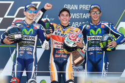 Podium: race winner Marc Marquez, Repsol Honda Team, second place Jorge Lorenzo, Yamaha Factory Racing, third place Marc Marquez, Repsol Honda Team