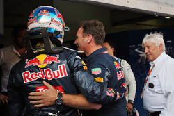 Race winner Daniel Ricciardo, Red Bull Racing celebrates in parc ferme with Christian Horner, Red Bull Racing Team Principal