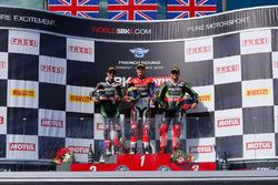Podium: Jonathan Rea, Kawasaki Racing; Chaz Davies, Ducati Team; Tom Sykes, Kawasaki Racing