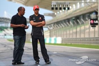 Lewis Hamilton, McLaren Mercedes and his father Anthony Hamilton