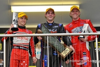 Race winner Shane Van Gisbergen, second place Lee Holdsworth, third place Garth Tander