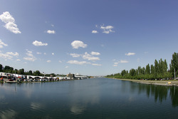 Paddock area and rowing bassin at Circuit Gilles-Villeneuve