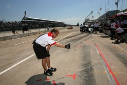 Provisional pole winner Sébastien Bourdais heads to his pit area
