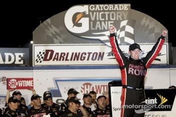 Regan Smith celebrates his first NASCAR Cup win