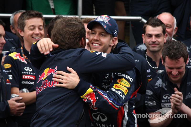 Red Bull team celebration Christian Horner, Red Bull Racing, Sporting Director, Sebastian Vettel, Red Bull Racing