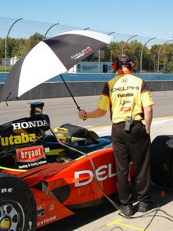 Umbrellas were also used for the sun on Saturday