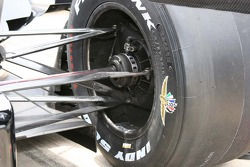 A detailed view of the rear suspension