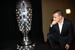 Dario Franchitti takes a quiet moment to look at his place among the legends on the Borg-Warner Trop