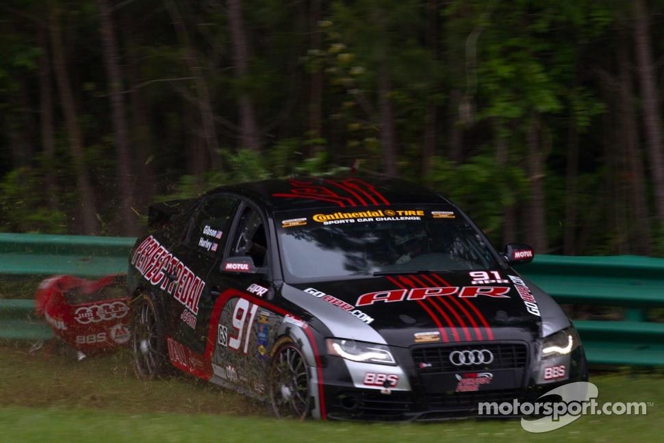 #91 APR Motorsport Audi S4: Gary Gibson, Josh Hurley crashes
