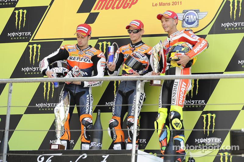 Podio: 1º Casey Stoner, 2º Andrea Dovizioso, 3º Valentino Rossi