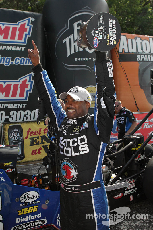 Antron Brown celebrating after winning the Southern Nationals