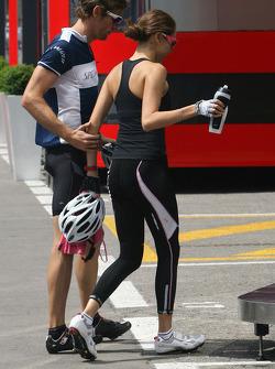 Jenson Button, McLaren Mercedes and his girlfriend Jessica Michibata
