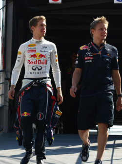 Sebastian Vettel, Red Bull Racing with his trainer Tommi
