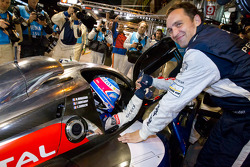 Provisional pole winner Stéphane Sarrazin celebrates with Franck Montagny