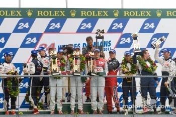Audi and Peugeot celebrate Le Mans finish on podium