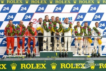 LM GTE Pro podium: class winners Olivier Beretta, Tom Milner, Antonio Garcia, second place Giancarlo Fisichella, Gianmaria Bruni, Toni Vilander, third place Andy Priaulx, Dirk Muller, Joey Hand