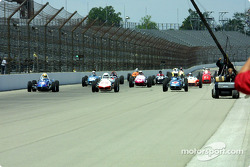 Field of vintage Indy cars