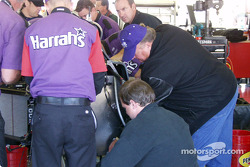 A.J. pitching in to move the Infiniti engine to the new tub