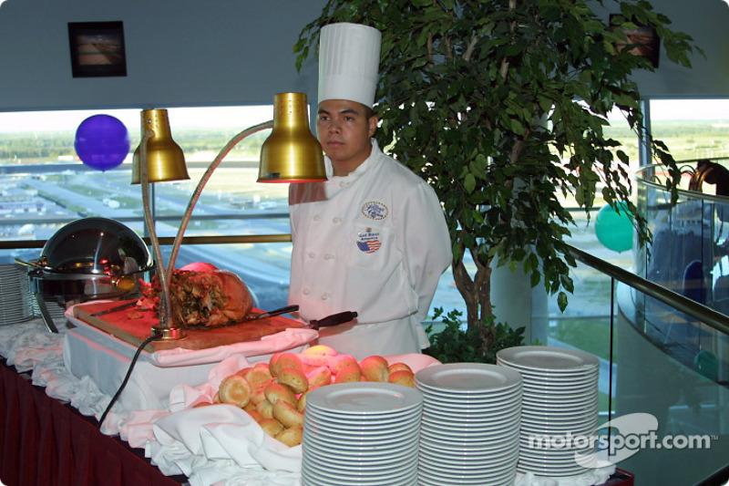 Chef displays banquet of food