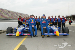 The front row: pole winner Tomas Scheckter and Buddy Rice with Cheever Racing team