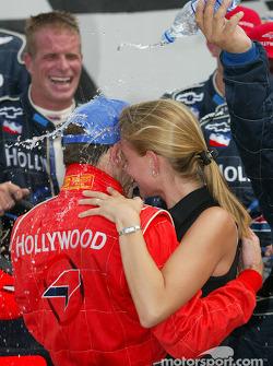Race winner Felipe Giaffone celebrating victory