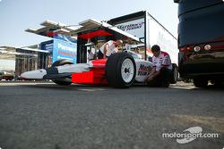 Team Penske crew members at work
