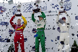 The podium: Memo Gidley, Dario Franchitti and Bryan Herta
