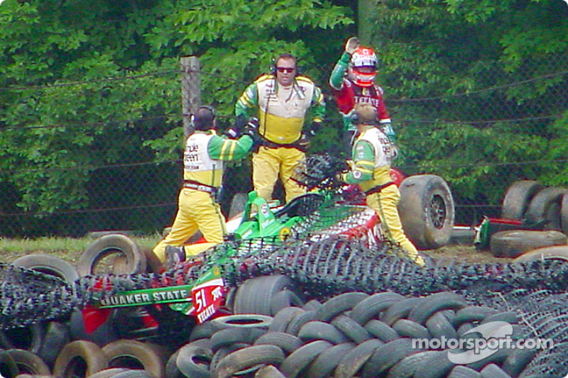 Adrian Fernandez out of the car