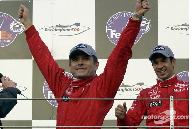 The podium: Gil de Ferran and Helio Castroneves