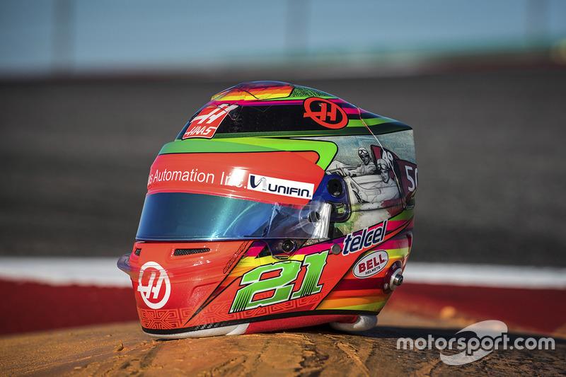 Helm pembalap Haas F1, Esteban Gutierrez, edisi spesial GP Meksiko