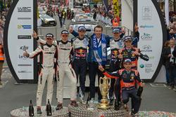 Podium: Winner Sébastien Ogier, Julien Ingrassia, Volkswagen Polo WRC, Volkswagen Motorsport with Dr. Frank Welsch; second place Ott Tanak, Raigo Molder, DMACK World Rally Team; third place Thierry Neuville, Nicolas Gilsoul, Hyundai i20 WRC, Hyundai Motorsport