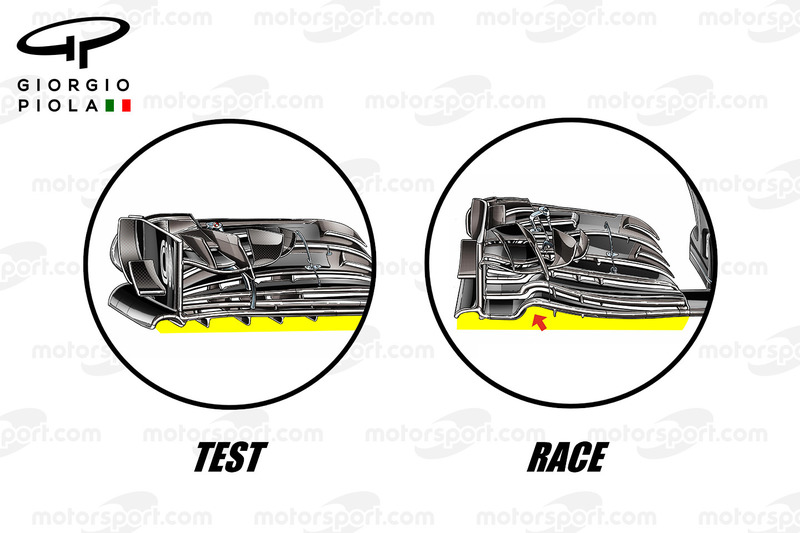 McLaren front wings comparison, 2017 vs 2016, Mexican GP