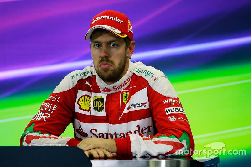 Sebastian Vettel, Ferrari lors de la conférence de presse de la FIA