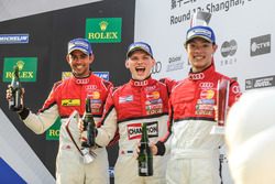 Podium: race winner Martin Rump, Champion Racing Team, second place Aditya Patel, Team Audi R8 LMS Cup, third place Shaun Thong, Phoenix Racing Asia