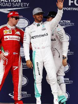 Lewis Hamilton, Mercedes AMG F1 celebrates his pole position in qualifying parc ferme