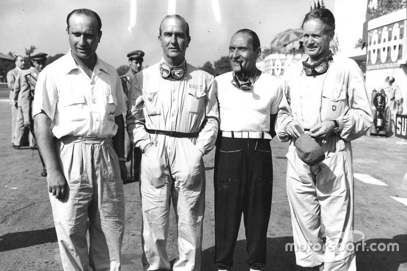 Equipo Alfa Romeo: Juan Manuel Fangio, Giuseppe Farina, Felice Bonetto y Emmanuel de Graffenried