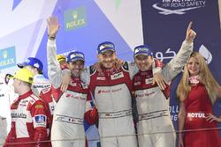 Podium LMP1 : deuxième place #7 Audi Sport Team Joest Audi R18: Marcel Fässler, Andre Lotterer, Benoit Tréluyer